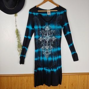 Vocal Western Cowgirl Tie dye Bejeweled Tunic
